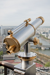 Sightseeing binoculars for tourists in the Eiffel Tower