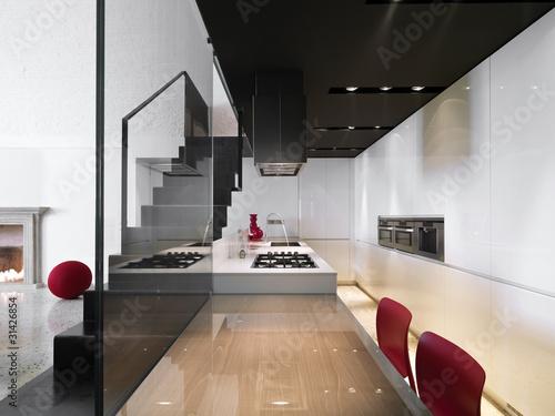 cucina moderna con scala in ferro a vista\
