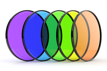 Color photos filters 3d. Isolated