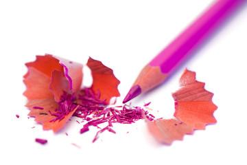 Purple pencil and its peelings