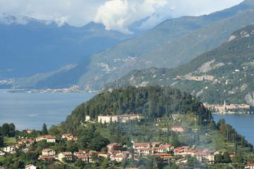 Aerial view of the lake of Como in Italy