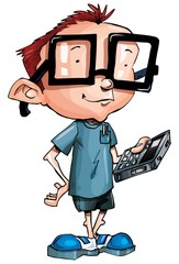 Cartoon nerd with glasses and a smartphone