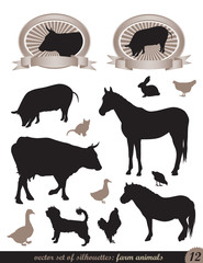 two labels and 12 silhouettes of animals