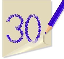 Post it con numero 30