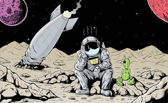 Astronaut is feeling bad for crashing his ship