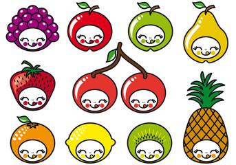 set of happy fruit characters, vector