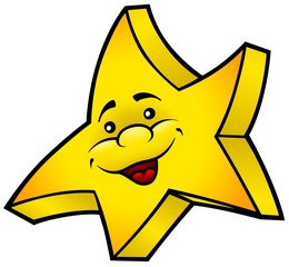 Smiling Star - colored cartoon illustration