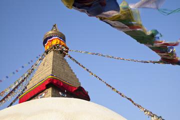 Boudhanath Stupa, a Buddhist temple in Kathmandu, Nepal.