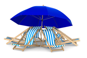 Six deckchair and parasol on white background. Isolated 3D image