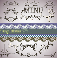 Calligraphic vintage design elements and page decoration. Vector