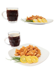 Set of Fried shrimp on a plate and Mug of dark beer. Isolated on