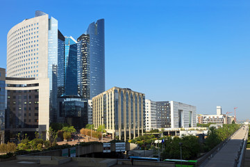 The modern district of La Defense in Paris, France.