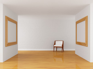 Empty gallery's hall with chair
