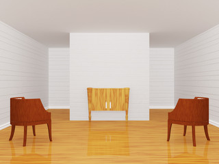 Gallery's hall with chairs and wooden console-table