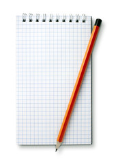 white notebook and pencil isolated