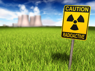 Radioactivity Sign And Nuclear Power Plant