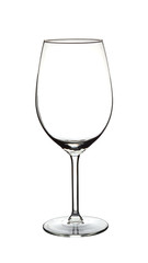 Empty wine glass photographed on white