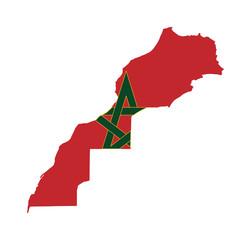 Fototapete - Morocco flag on map