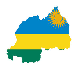 Rwanda flag on map