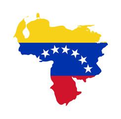 Fototapete - Venezuela flag on map