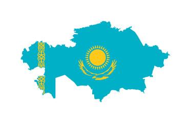 Wall Mural - Kazakhstan flag on map