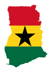 Wall Mural - Ghana flag on map