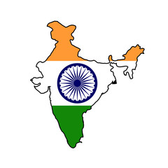 Fototapete - India flag on map