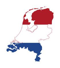 Fototapete - Netherlands flag on map