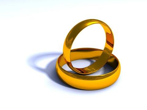 3D Gold wedding rings light 2