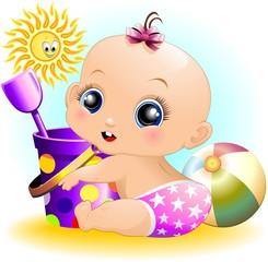 Bambina Neonata Al Mare-Baby Girl at the Beach-Vector