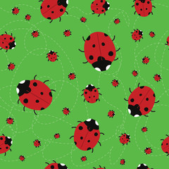 seamless green background with Ladybirds