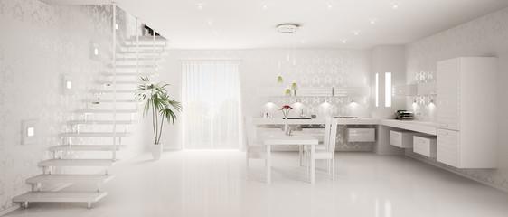 Weisse Küche interior mit Treppe panorama 3d render