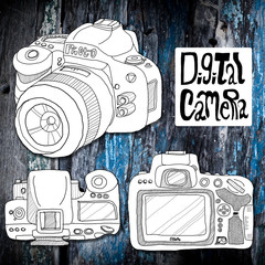 Digital camera sketch drawing with old wooden background