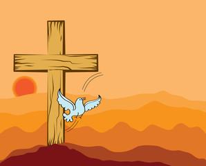 Wooden Christian Cross, dove