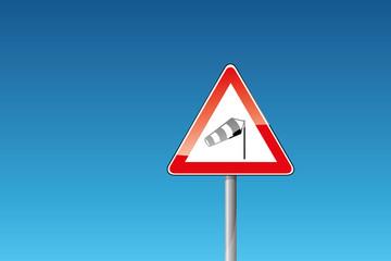 Verkehrszeichen 117-10: Seitenwind von rechts