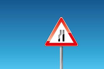 Verkehrszeichen 121-20 Einseitig (links) verengte Fahrbahn