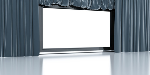 empty white modern screen with blue curtains around