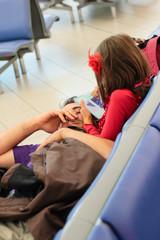 famille dans l'aéroport