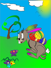 Easter rabbit with Easter eggs