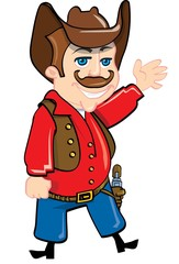 Foto op Plexiglas Wild West Cartoon cowboy with a gun belt