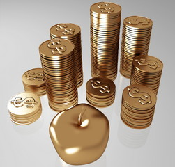 golden apples and coins