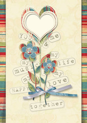 Retro card with flowers