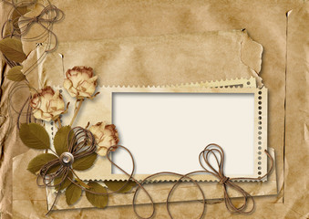 retro card with rose on torn paper background