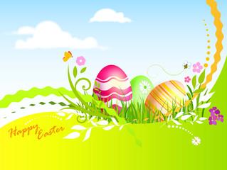 Uova di pasqua su prato fiorito