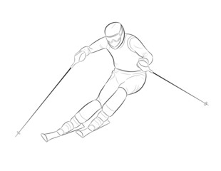 Silhouette of a skier