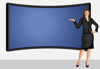 Business woman wearing black suit with presentation screen