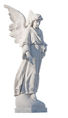 White marble statue of a beautiful female angel isolated on whit