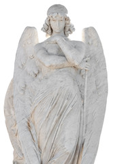 Statue of a beautiful female angel isolated on a white backgroun