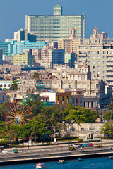 Panoramic view of Havana from the old part of the city to the mo