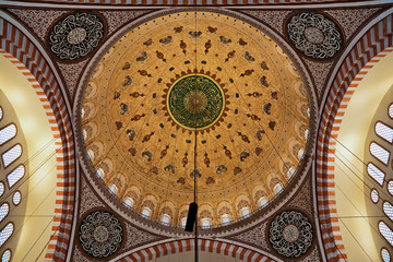 Painted dome of the Suleymaniye Mosque in Istanbul, Turkey